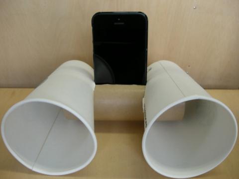 スタバのカップでiPhone用スピーカーを作ってみた。