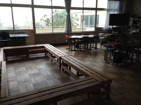 台風18号、子どもたちのいない学校にて