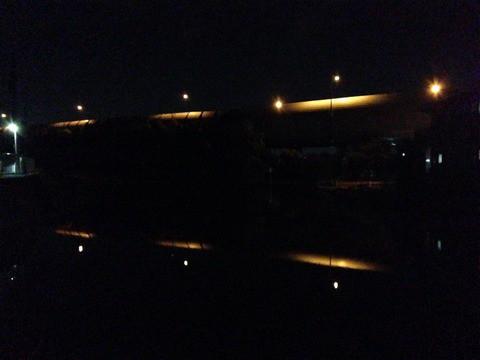 東名の照明と田んぼ
