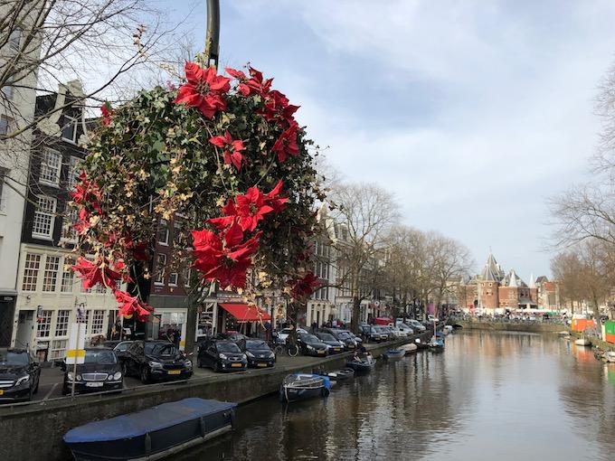 橋の上に花
