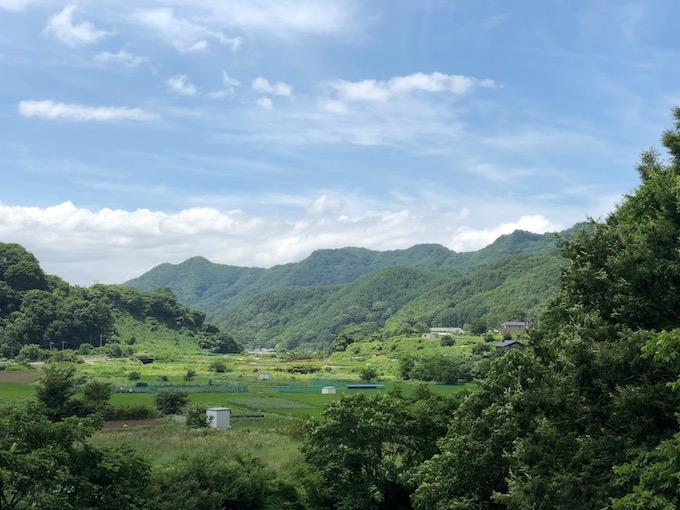 遠くに見える旧佐久東小学校