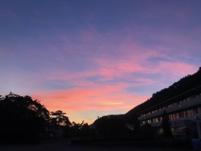 大日向小学校から見える夕焼け